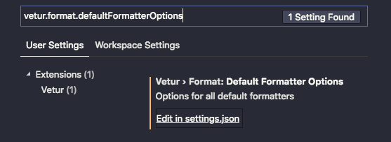 Vetur default formatter options